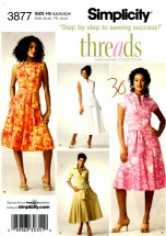 Simplicity 3877 Sewing Pattern Misses Dress Bodice Variations Threads Size 6 - 14