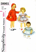 "Simplicity 3661 Playpal Barbara Jo Life Size Doll Wardrobe Vintage Sewing Pattern Fits 36"" Doll"