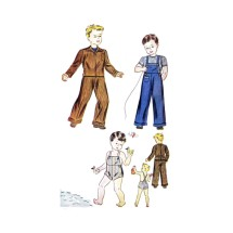 1930s Boys Jacket Bib Overalls Sunsuit Simplicity 3062 Vintage Sewing Pattern Size 6