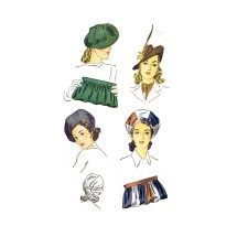 1940s Hats and Bag Sets Simplicity 3651 Vintage Sewing Pattern Size 22