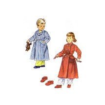 1940s Boys or Girls Double Breasted Robe and Slippers Simplicity 3053 Vintage Sewing Pattern Size 8
