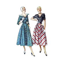 1940s Misses V-Neckline Dress with Detachable Revers and Cummerbund Simplicity 3139 Vintage Sewing Pattern Size 14 Bust 32