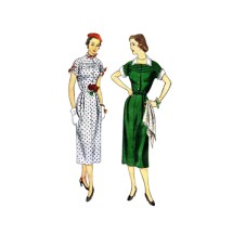1950s Misses Slim Dress with Detachable Collar and Cuffs Simplicity 3456 Vintage Sewing Pattern Size 12 Bust 30