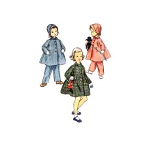 1950s Little Girls Coat Hat Leggings Simplicity 4454 Vintage Sewing Pattern Size 2
