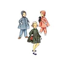 1950s Little Girls Coat Hat Leggings Simplicity 4454 Vintage Sewing Pattern Size 2