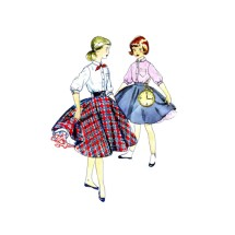 1950s Girls Blouse Skirt Petticoat Simplicity 4859 Vintage Sewing Pattern Size 10 Breast 28