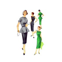 1950s Misses Peplum Jacket Sheath Dress Simplicity 1411 Vintage Sewing Pattern Size 16 Bust 34