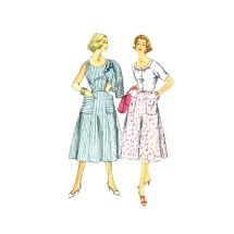 1950s Misses Sleeveless Buttoned Shoulder Flared Dress Simplicity 2112 Vintage Sewing Pattern Size 16 Bust 36
