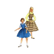 1950s Girls Blouse Full Skirt Jumper Simplicity 2204 Vintage Sewing Pattern Size 10 Breast 28