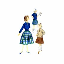 1950s Girls Middy Blouse and Pleated Skirt Simplicity 2205 Vintage Sewing Pattern Size 10 Breast 28