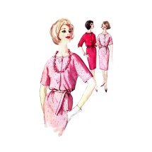 1960s Misses Sheath Dress Simplicity 4139 Vintage Sewing Pattern Size 13 Bust 33