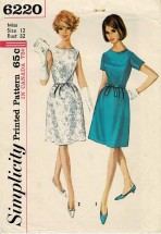1960s Misses Cocktail Dress Simplicity 6220 Vintage Sewing Pattern Size 12 Bust 32