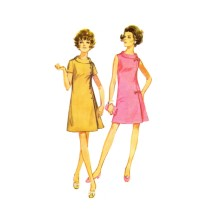 Misses Bias Roll Collar Shift Dress Simplicity 8159 Vintage Sewing Pattern Half Size 16 1/2 Bust 39