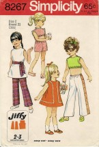 1960s Little Girls Pants in Two Lengths Dress Top Sash Simplicity 8267 Vintage Sewing Pattern Size 2 Breast 21