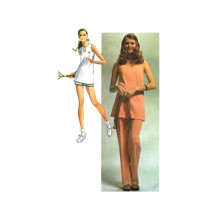1970s Misses Tennis Outfit Pants Shorts Tunic Simplicity 9417 Vintage Sewing Pattern Size 14 Bust 34