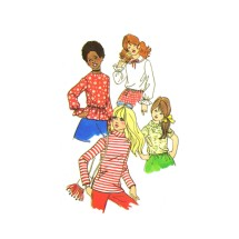 1970s Girls Blouses Simplicity 9478 Vintage Sewing Pattern Size 4