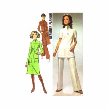 1970s Misses Dress or Tunic and Pants Simplicity 9509 Vintage Sewing Pattern Size 12 Bust 34