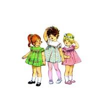 1970s Toddler Girls Dress Simplicity 9839 Vintage Sewing Pattern Size 1