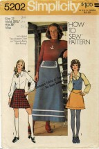 1970s Misses Mini or Ankle Length Skirt Simplicity 5202 Vintage Sewing Pattern Size 12 Waist 26 1/2