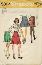 1970s Misses Pleated Skirts in Two Lengths Simplicity 5804 Vintage Sewing Pattern Size 10 Waist 25