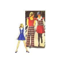 1970s Misses Vest Short Skirt and Pants Simplicity 5852 Vintage Sewing Pattern Size 12 Bust 34