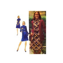 1970s Misses Dress and Unlined Cardigan Jacket Designer Fashion Simplicity 5908 Vintage Sewing Pattern Size 12 Bust 34