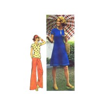 1970s Misses Jiffy Knit Raglan Dress or Top and Pants Simplicity 6027 Vintage Sewing Pattern Size 12 Bust 34