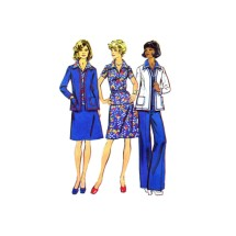 1970s Misses Unlined Jacket Top Skirt Pants Simplicity 6167 Vintage Sewing Pattern Size 16 Bust 38