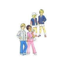 1970s Boys and Girls Pants Shorts Suspenders Cardigan Simplicity 6240 Vintage Sewing Pattern Size 3 Breast 22