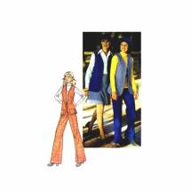 1970s Misses Vest Short Skirt Pants Simplicity 6570 Vintage Sewing Pattern Size 12 Bust 34