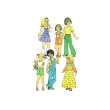 1970s Girls Skirt and Pants in Two Length with Detachable Bib Simplicity 6781 Vintage Sewing Pattern Size 6 Breast 25