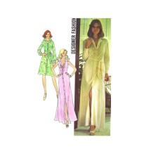 1970s Misses Shirtdress Designer Fashion Short or Ankle Length Dress Simplicity 6894 Vintage Sewing Pattern Size 12 Bust 34