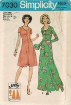 1970s Misses Dress in Midi or Evening Lengths Simplicity 7030 Vintage Sewing Pattern Half Size 10 1/2 - 12 1/2 Bust 33 - 35