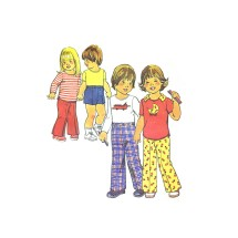 1970s Toddlers Pullover Top Pants Shorts Simplicity 7061 Vintage Sewing Pattern Size 1