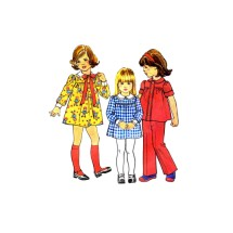 1970s Girls Dress Top Pants Simplicity 7063 Vintage Sewing Pattern Size 5
