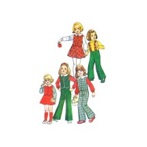Simplicity 7104 Girls Pants Skirt Suspenders Top Vintage Sewing Pattern Size 5