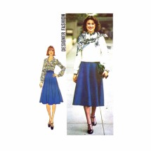 1970s Misses Jacket Blouse Skirt Scarf Designer Fashion Simplicity 7340 Vintage Sewing Pattern Size 12 Bust 34