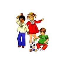 Toddler Girls Dress Top Pants Simplicity 8129 Vintage Sewing Pattern Size 1
