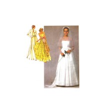 Misses Bridal Gown Wedding Dress Bridesmaid Dress Bolero Jacket Simplicity 9364 Vintage Sewing Pattern Size 14 Bust 36