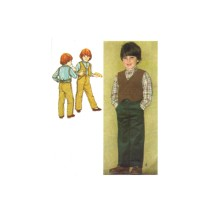1980s Boys Pants Pullover Shirt Lined Vest Simplicity 9631 Vintage Sewing Pattern Size 4 Chest 23