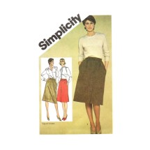 1980s Misses Slim Fitting Skirts Simplicity 9789 Vintage Sewing Pattern Size 16 Waist 30