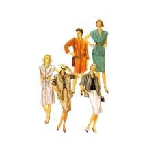 Misses Dress Shirt Skirt Vest Simplicity 6456 Vintage Sewing Pattern Size 14 Bust 36