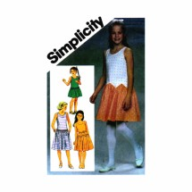 Girls Drop Waist Dress Simplicity 6472 Vintage Sewing Pattern Size 7 Breast 26