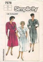 1980s Misses Surplice Dress Simplicity 7278 Vintage Sewing Pattern Size 12 Bust 34