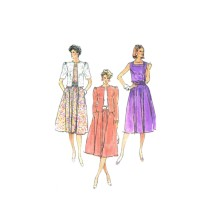 Misses Dress and Unlined Jacket Simplicity 7442 Vintage Sewing Pattern Size 10 - 12 - 14