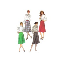 Misses Set of Skirts Back Zipper Box Pleats Inverted Front Pleat Flared and Gored A-line Skirt Simplicity 7767 Vintage Sewing Pattern Size 12 Waist 26 1/2