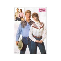 1980s Misses or Mens Western Shirts Shirley Botsford Simplicity 7808 Vintage Sewing Pattern Size Medium Bust / Chest 35 - 36 1/2