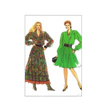 1980s Misses Dress in Two Lengths Simplicity 8801 Vintage Sewing Pattern Size 12 Bust 34