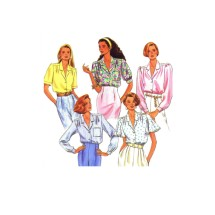 1990s Misses Front Button Blouse Simplicity 9857 Vintage Sewing Pattern Size 10 - 12- 14 - 16 - 18 - 20