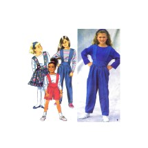 Girls Suspender Pants or Shorts Skirt Top Simplicity 8202 Vintage Sewing Pattern Size 7 - 8 - 10